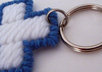 send 1 handcrafted blue and white cross key ring to your US address small2