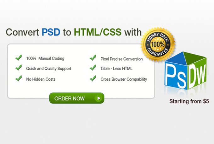slice or convert psd to html and css