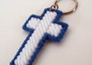 send 1 handcrafted blue and white cross key ring to your US address small3