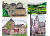 draw, paint a house, pet, car, landscape, building in watercolour style small3