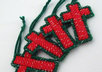 send 4 handcrafted red and green Christmas cross ornaments to your US address small1