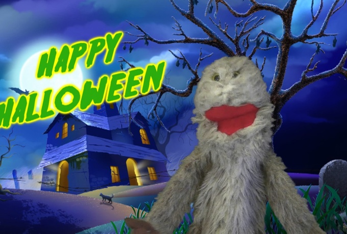record a personal greeting with Wicker the Halloween Monster