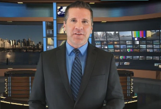 produce a 20 word newscast style video while standing in a virtual news studio