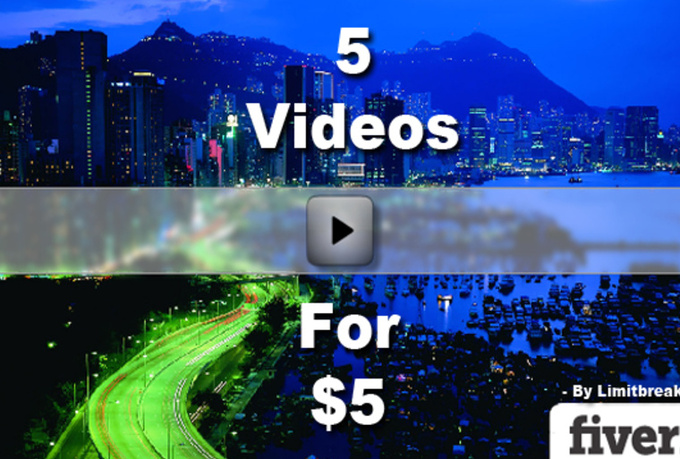create 5 different slideshow videos and also send you the required html, swf and js files to host the video on your own website