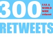 give you 300 real Retweets from US worldwide users strong effective social signals