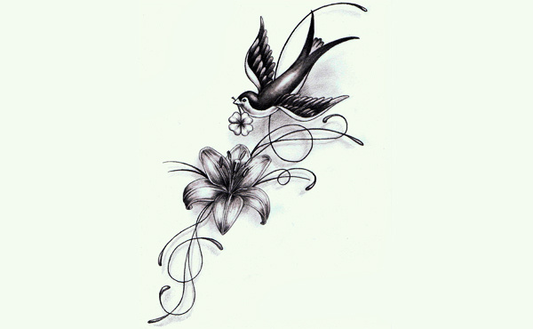 tattoo lily bird 600 370 tattoo piercing ideas pinterest. Black Bedroom Furniture Sets. Home Design Ideas