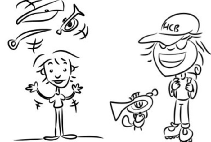 draw a line art caricature of you doing your favorite activity