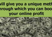 give you a unique method through which you can boost your online profit