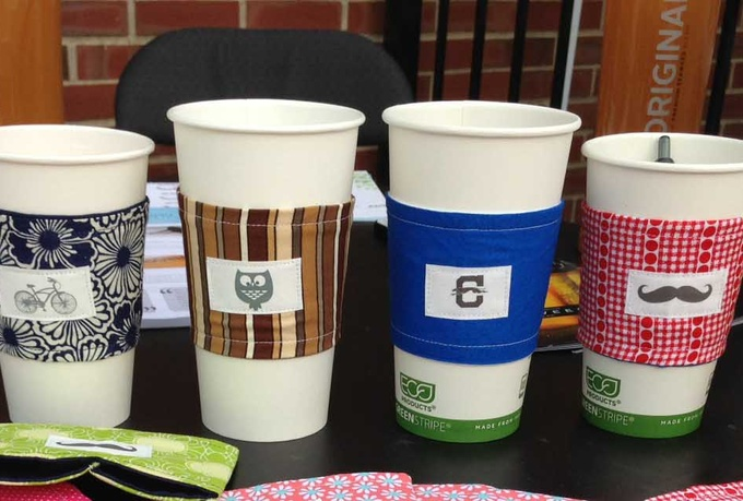 put your logo on a Fabric Coffee Sleeve