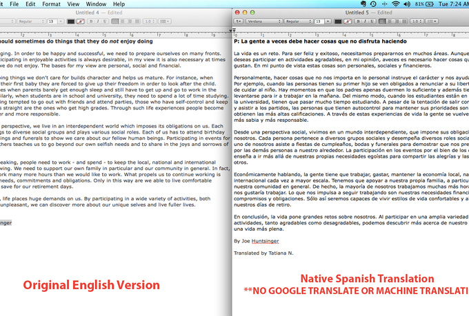 Translate a document from english to spanish fiverr for Translate my document to spanish