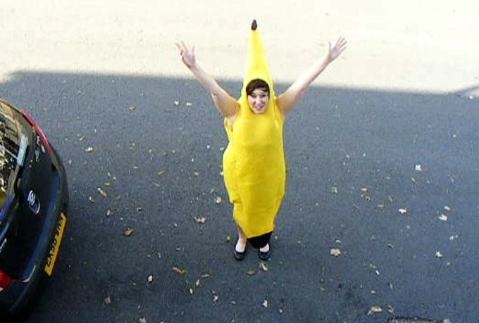 shout anything you want in a banana costume