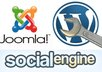 upload and install Joomla,Wordpress,social engine or any other CMS to your domain