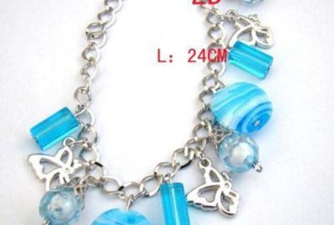 send you this handmade Blue glass Crystal beads Butterfly Chain Bracelet