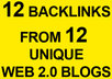 produce 12 backlinks from 12 weblogs to your site